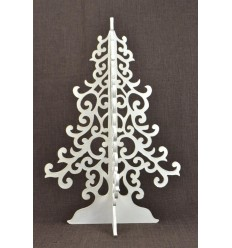 Big Christmas tree white 50cm wood. Deco Christmas craft.
