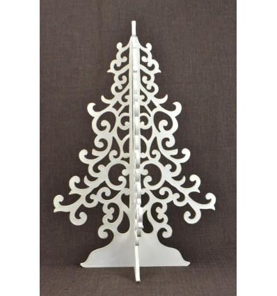 Grand sapin de Noël blanc 50cm en bois. Déco de Noël artisanale.