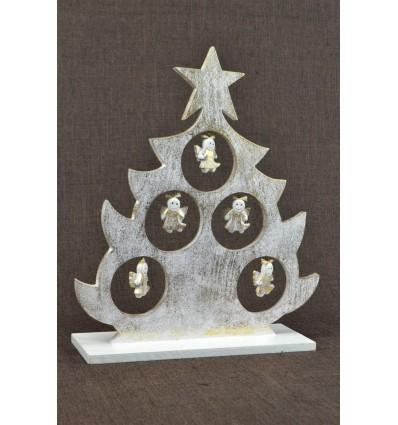 Sapin de Noël de table décor anges H30cm. Bois patine dorée.