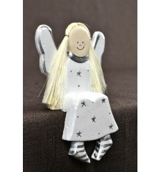 Figurine Angel sitting in wood H14cm. Deco Christmas craft.