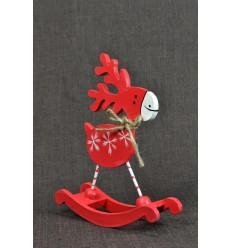Statuette Renne à bascule rouge. Décoration de noël en bois.