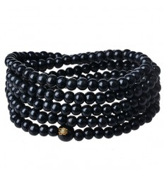 Bracelet Tibetan Mala beads black wood 6mm.