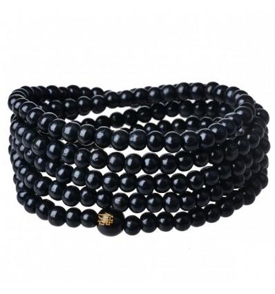 Bracelet Tibetan Mala beads-black wood.