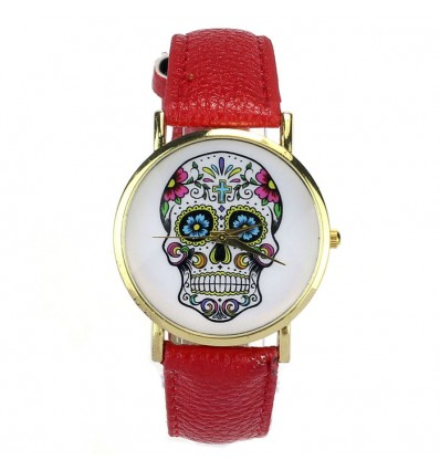 "Watch ""Calavera"" pattern skull mexican multicolor wristwatch synthetic leather red."