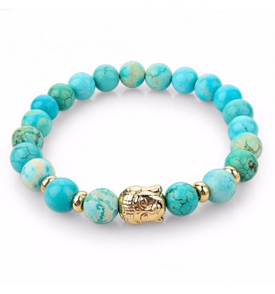 Bracelet Turquoise natural + pearl Buddha golden. Free shipping.