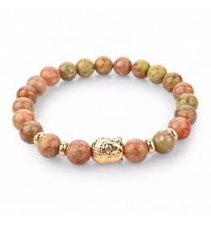 Unakite Bracelet, natural + pearl Buddha golden. Free shipping.