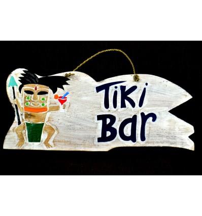 "Grande plaque / enseigne ""Tiki Bar"" 50cm fabrication artisanale en bois."