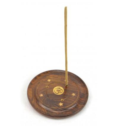 Porte-encens en bois pour cônes et bâtonnets - motif symbôle Ôm (Aum)