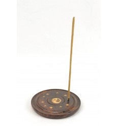 Incense holders in wood for cones and sticks - pattern Yin Yang