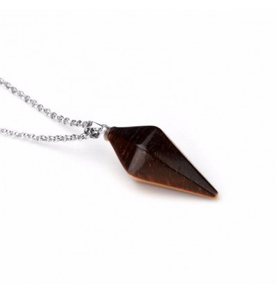 Necklace with pendant Tiger Eye natural style pendulum. Protection, self-confidence.