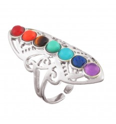 Ring adjustable 7 chakra 7 stones