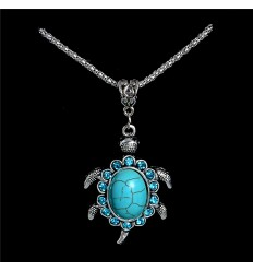 Necklace bohemian with pendant Turtle turquoise