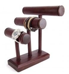 Presentoir bracelets et montres 3 joncs en bois massif teinte rouge