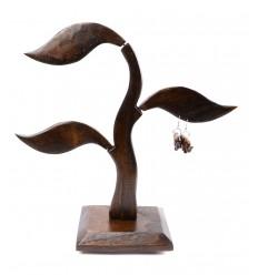 Albero di orecchini in legno massello marrone