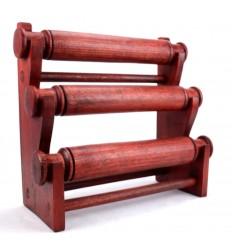 Porte-bracelets et montres / Presentoir a bijoux 3 joncs en bois massif teinte rouge