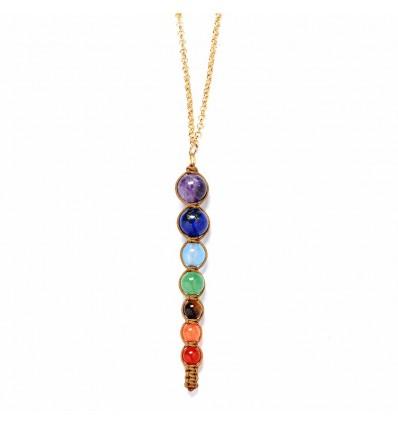 Collana + ciondolo, 7 chakra, in metallo dorato e 7 pietre preziose.