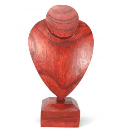 Busto display collana creata in massello di legno tinto di rosso H30cm