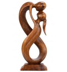 Statue abstraite couple Union Infinie h20cm en bois teinte marron