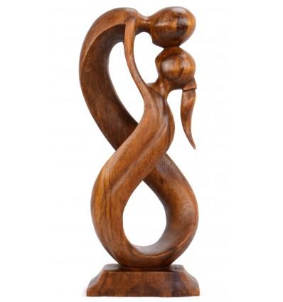 Statua astratta paio Unione Infinita h20cm in legno, tonalità marrone