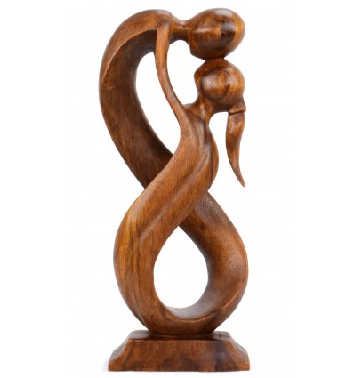 Statue abstract couple Union Infinite h20cm wooden shade brown
