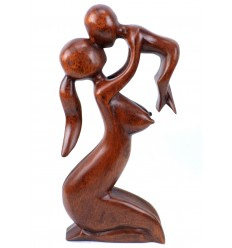 Statue abstract Mother and Baby h30cm solid wood Brown