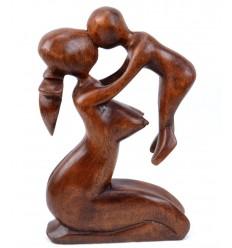 Abstract Statua del Bambino e della Madre H20cm realizzato in legno massello color cioccolato intagliato a mano
