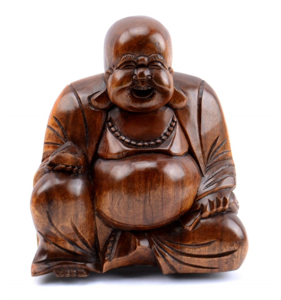statuette du bouddha chinois rieur happy buddha budai bois sculpt. Black Bedroom Furniture Sets. Home Design Ideas