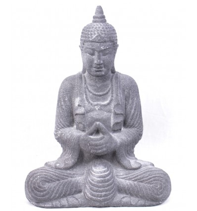 Buddha Statue in gray stone, asian decor.