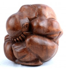 Yogi in solid wood carved hand H15cm