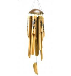 Carillon à vent en bambou et noix de coco décor Gecko Margouillat Salamandre.