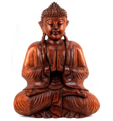 Grande statue Bouddha assis mains jointes en bois, déco bouddhiste.