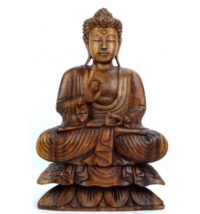 Sculpture Bouddha assis sur lotus. Décoration artisanat indonésien.