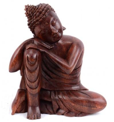 Statuetta di Buddha pensatore in legno. Deco di importazione Asia.