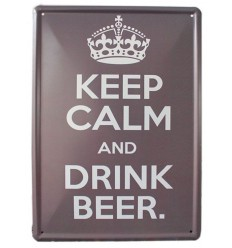 """Plate metal sign Pub-style English """"Keep calm & drink beer"""" - free Shipping !!!"""