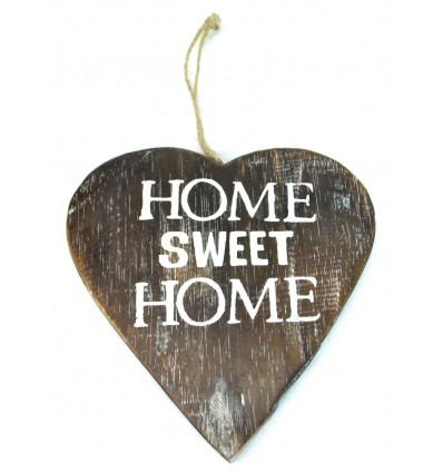 Plaque de porte originale coeur en bois vieilli, home sweet home.