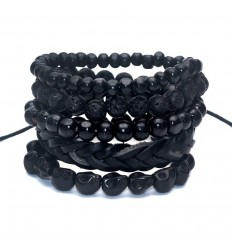 Combo 5 bracelets tendance pour homme en cuir, bois et pierre.