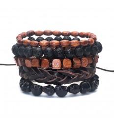 Combo 5 bracelets assortis pour homme en cuir, bois et pierre.