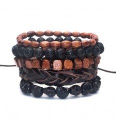 Bracelets assorted fashion trends for men leather, wood, fine stone.