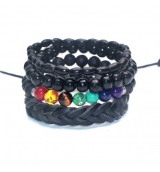 Combo 4 bracelets trend for men leather, wood and precious stones.