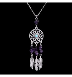 Necklace Bohemian with pendant giant dream catcher + bead in Amethyst