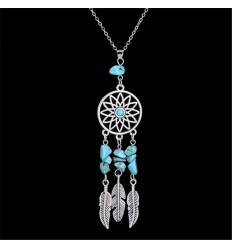 Necklace Bohemian with pendant giant dream catcher + bead turquoise