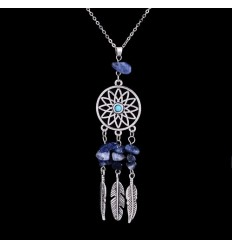 Necklace Bohemian with pendant giant dream catcher + bead Lapis Lazuli