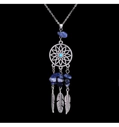 Collier Bohème avec pendentif attrape-rêves + perles en Lapis Lazuli. Livraison Gratuite !