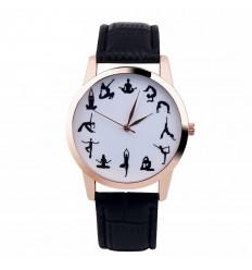 """Montre fantaisie """"Yoga Addict"""" - bracelet similicuir noir. Livraison gratuite !"""