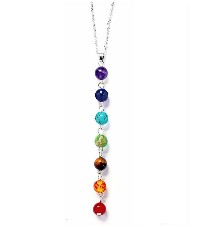 a1346815098dec Collier avec pendentif 7 chakras en pierres, bijoux yoga pas chers.