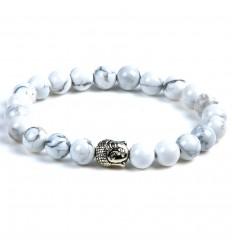Bracelet en Howlite naturelle + perle Bouddha. Livraison gratuite.
