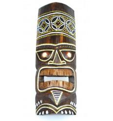 Masque Tiki h30cm en bois motif coloré. Déco Tiki.