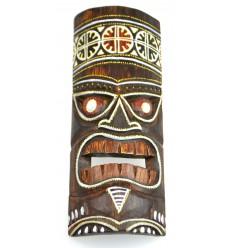 Masque Tiki h30cm en bois motif coloré. Décoration Tiki.