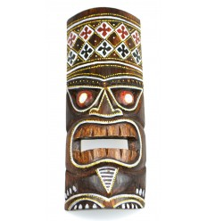Tiki mask h30cm wood colorful pattern. Deco Hawaii.