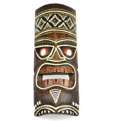 Masque Tiki h30cm en bois motif coloré. Déco Polynésie